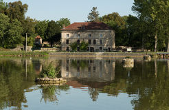 House on the Canal de Bourgogne, France Royalty Free Stock Image