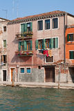 House on the canal, Venice. Pretty house on Canal Grande in Venice, Italy royalty free stock images
