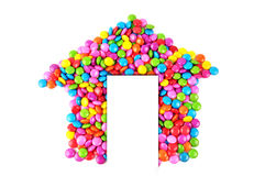 House candy. Colorful candy forming the house Royalty Free Stock Photos