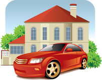House and car. Vector illustration of the urban scene with a big house and car. Illustration isolated on white background Stock Image
