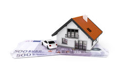 House and car above money Stock Image