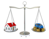 House and car with the coins on the scale Stock Images