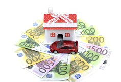 House and car on the euro banknotes Royalty Free Stock Images