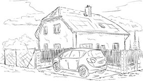 House and car. Vector - House with fence and car parking Royalty Free Stock Image