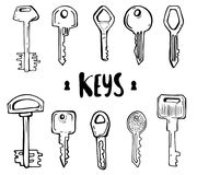 House and car key doodles of hand drawn keys stock illustration