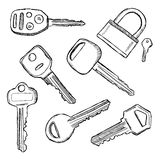 House and car keys doodle. House and car key doodles. Illustration of hand drawn keys Stock Photography