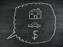 House,car and money on blackboard Stock Images