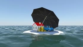 House, car and money covered with an umbrella Royalty Free Stock Image