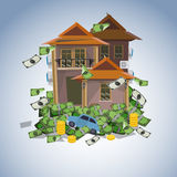 House and car on money stack, real estate business concept - vec Stock Image