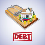 House and car with money on trap. debt trap concept. Vector illustratiob Royalty Free Stock Photos