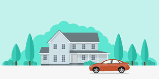 House and car. Picture of a privat house and a car in front of it, flat style banner concept Stock Photography