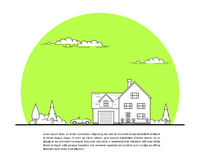 House and car. Picture of private family house with car and trees, real estate concept, thin line flat illustration Stock Photos