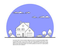 House and car. Picture of private family house with car and trees, real estate concept, thin line flat illustration Stock Photography