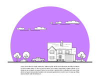 House and car. Picture of private family house with car and trees, real estate concept, thin line flat illustration Stock Image