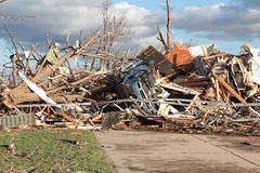 House and Car With Tornado Damage Royalty Free Stock Photography