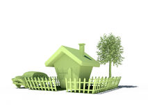 House car tree real estate immobile 3d cg Royalty Free Stock Images