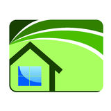 House card. Poster, home, , green home house Stock Photography