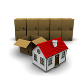 House from a cardboard box Royalty Free Stock Image