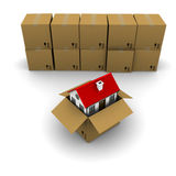 House from a cardboard box. On the background of the group boxes stock illustration