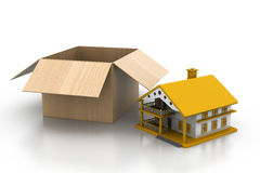 House with cardboard box Stock Photography