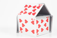 House of Cards. A house of cards made from full size playing cards Royalty Free Stock Photo
