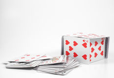 House of Cards. A house of cards made from full size playing cards Stock Photos