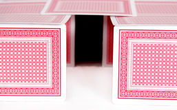 House of cards. Flimsy cardhouse of playing cards showing real estate and housing projects Stock Photo