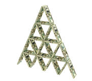 House of cards built from dollar bundles Royalty Free Stock Images