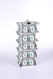 House of cards. With dollar notes Stock Image