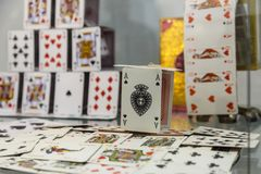 A house of cards. In the exhibition Illusion Arts Stock Photography