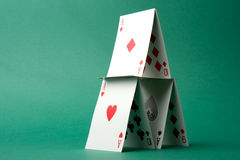 House of Cards on Green Royalty Free Stock Photography