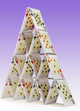 House of cards. Low-angle view of a house of cards Royalty Free Stock Photography