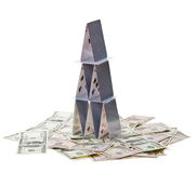 House of cards on money. Stock Photo
