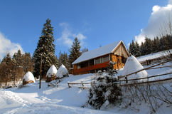 House in Carpathians in the winter Royalty Free Stock Images