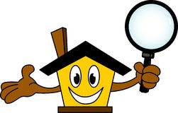 House cartoon holding magnifying glass Stock Photos
