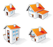 House cartoon icons. Four different houses  icons in cartoon style Royalty Free Stock Image