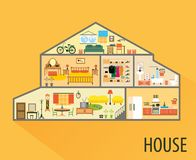 House cartoon interior. Rooms with furniture. House cartoon interior. Cartoon living rooms with furniture Royalty Free Stock Photo