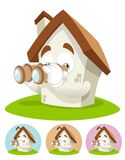 House Cartoon Mascot - binocular Royalty Free Stock Photos