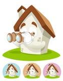 House Cartoon Mascot - binocular. House cartoon character illustration looking trough binocular stock illustration