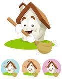 House Cartoon Mascot - broom Stock Image