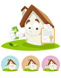 House Cartoon Mascot - certificate Royalty Free Stock Images
