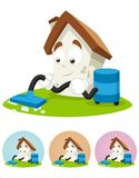 House Cartoon Mascot - cleaning the house Royalty Free Stock Photo