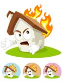 House Cartoon Mascot - on Fire. House cartoon character  illustration frightened seeing his part get burned by fire Royalty Free Stock Photos