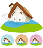 House Cartoon Mascot - Flooding. House cartoon character  illustration sinking in the water Stock Images