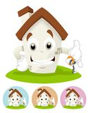 House Cartoon Mascot - holding a house key stock images