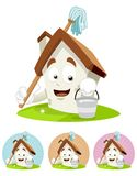 House Cartoon Mascot - holding mop Royalty Free Stock Image