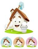 House Cartoon Mascot - holding mop Royalty Free Stock Image