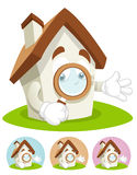 House Cartoon Mascot - magnifying glass Royalty Free Stock Photos