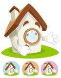 House Cartoon Mascot - magnifying glass royalty free stock photos