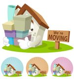 House Cartoon Mascot - Moving house. House cartoon character  illustration carrying boxes moving to a new place Royalty Free Stock Photo